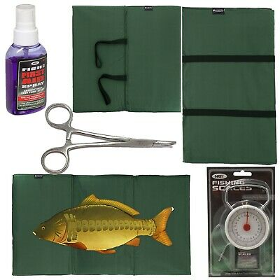 """CARP FISHING UNHOOKING Landing MAT + 50LB SCALES Fish Aid Spay 6"""" Curved forceps"""