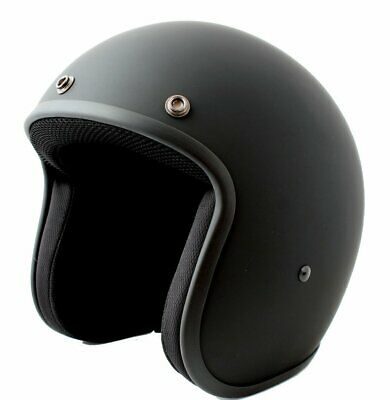 Daytona Low Profile Matt Black Custom Bobber open face biker helmet & freebies