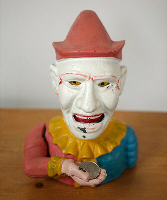 Vintage Humpty Dumpty Colorful CLOWN Cast Iron Mechanical Coin Bank Reproduction