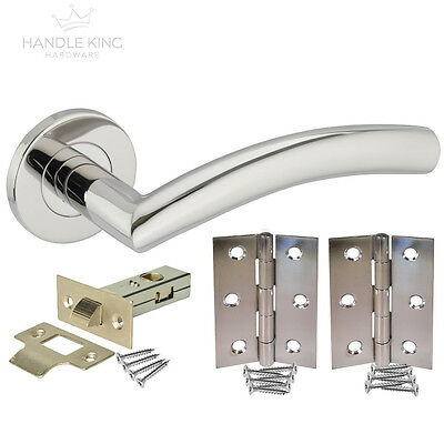 Curved Stainless Steel Door Handle Pack - Polished Chrome Latch Door Handles