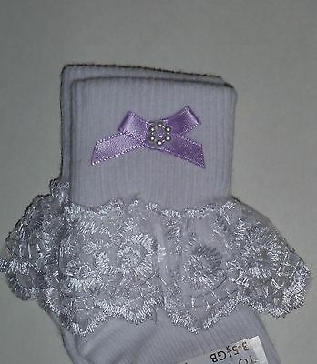 Girls White Frilly Lace Socks Size Lots Of Sizes Lilac Bow