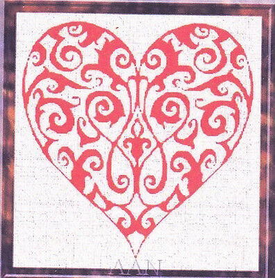 Precious Heart - one colour cross stitch chart - AAN Needleworks