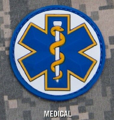 EMT STAR 3D PVC USA EMS MEDIC TACTICAL US ARMY MORALE WHITE MEDICAL VELCRO PATCH