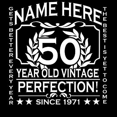 50th Birthday T-Shirt Personalise with Any Name Age Year Ideal Gift Personalised