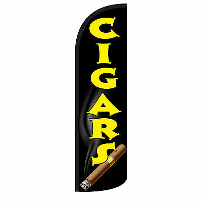 Windless Swooper Feather Flag Tall Banner Sign Only 3' Wide CIGARS BLK YEL CIGAR