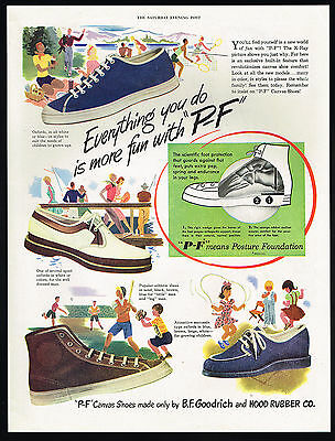 1947 PF P-F Posture Foundation Athletic Shoes Oxfords Hood Rubber Print Ad