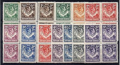 NORTHERN RHODESIA = G6 1938 MH/MNH Blocks of 4 to 5/-. SG25/43. (Not Complete)