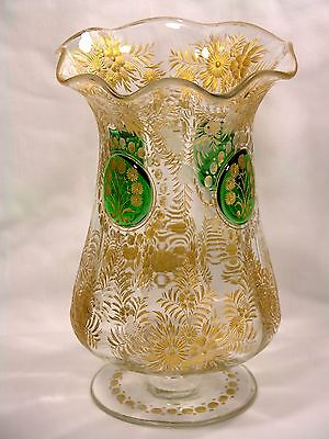 ANTIQUE MOSER VASE GOLD ENCRUSTED CUTTING GREEN CABOCHONS * FREE SHIPPING USA *