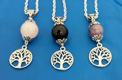 gemstone tree of life pendant necklace Pagan Celtic Wicca silver plated various