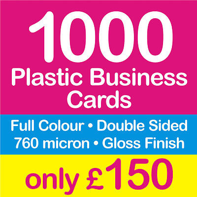 1000 Business Cards, Double Sided, Full Colour, Solid Plastic, UK Seller