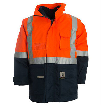 XAX 18406 - 4in1 Jacket/Vest With Reflective Tape - Orange/Navy - size 6XL