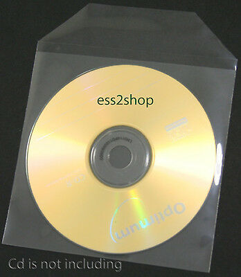 500 Thin Economic CPP Clear Plastic Sleeves With Flap Fit CD DVD (60 Micron)