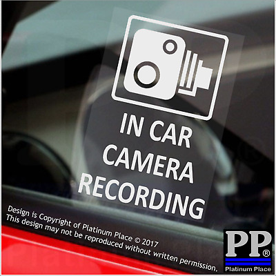 4 x In Car Camera Recording Window Stickers-CCTV Security Signs-Van,Taxi,Cab
