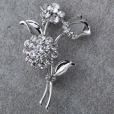 gorgeous Silver Plated crystal Flower bouquet Brooch pin Bridal wedding jewelry