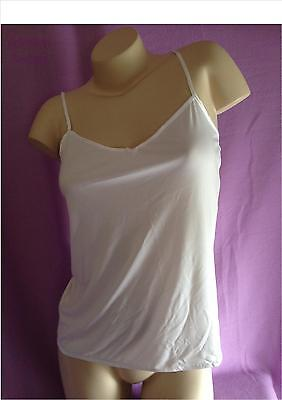 Ex Store WHITE SLINKY CAMISOLE TOP with adjustable strap & bow detail 8 - 22