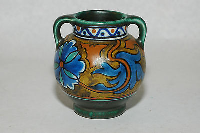 Beautiful Gouda Zuid Pottery ANJER minitaure 2 handle vase Holland art Nouveau