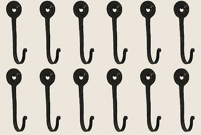 Vintage Hand Forged Iron Classic Early American Horseshoe Nail Hook Black Set 12