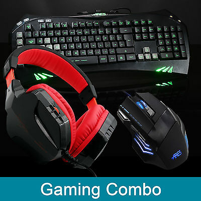 ARES K5 7 LED Backlit Gaming Keyboard CT-820 Red Headset w/Mic Wired Mouse Combo