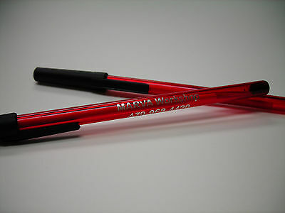 Custom Personalized Ruby Translucent Stick Pens Pk of 50 Printed w/. Your Info