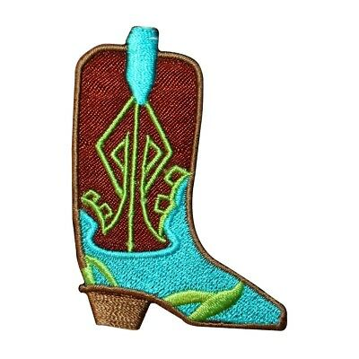bbe1c20e45f ID 9072B Fancy Cowboy Boot Patch Western Wear Shoe Embroidered Iron On  Applique