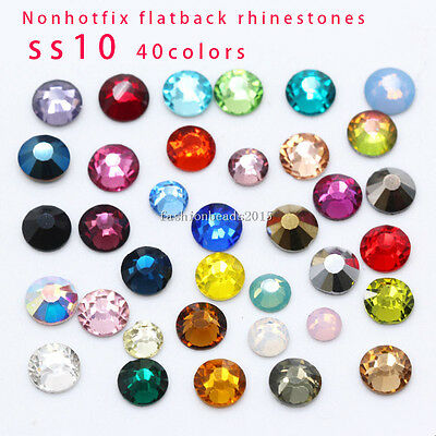 1440pc SS10 Crystal Glass Flatback Rhinestone Non Hotfix Nail Art Decoration DIY