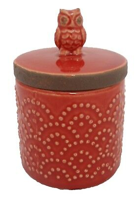 Ceramic Red Owl Coffee/Tea/Sugar Kitchen/Canister/Jar with Lid