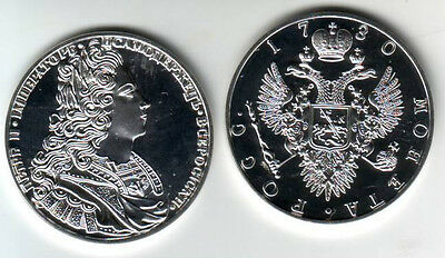 Rare 1730 Russia Large Silver Fantasy 1 Rouble-Peter II