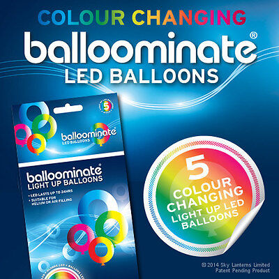 Balloominate Colour Changing LED light up balloons - 5 Pack