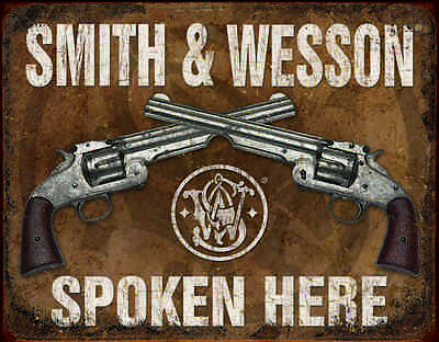 Vintage Smith & Wesson Spoken Here #1849 Retro Garage Man Cave