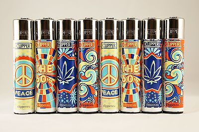 "8 pcs New Full Size Refillable Clipper Lighters HIPPI 60""s Designs"