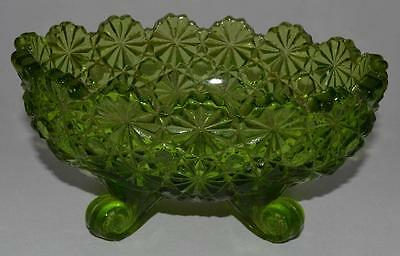"Vintage L G Wright Green Glass Daisy & Button Footed 5"" Oval Candy Dish Nut Bowl"