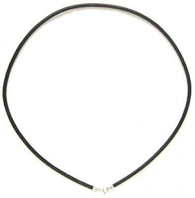 2mm Negro Cable Cuerda Cadena Collar De Cuero Plata Esterlina 20 Pulgadas