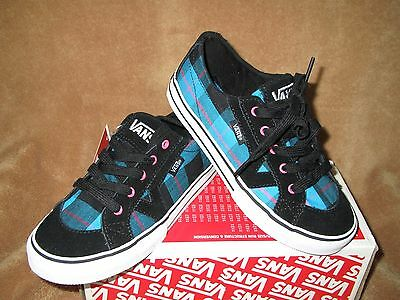 78a6e9089e5e17 NEW VANS TORY Box Plaid Skate Shoe Blk blue pink Youth 11Y