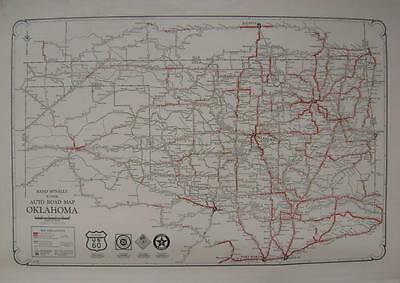 1928 Oklahoma Large Commercial Auto Road map*  Dirt, Poor, Graded, Paved etc