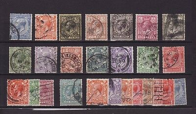 GREAT BRITAIN 1912-24 KGV Complete 15 STAMPS SET to 1s + EXTRAS Mainly Good Used