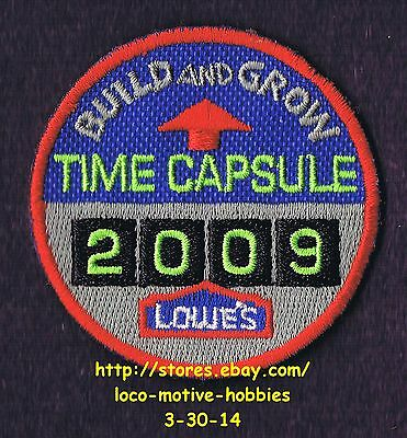 LMH PATCH Badge  2009 TIME CAPSULE Wooden LOWES Build Grow Kid's Clinic 2-3/16""