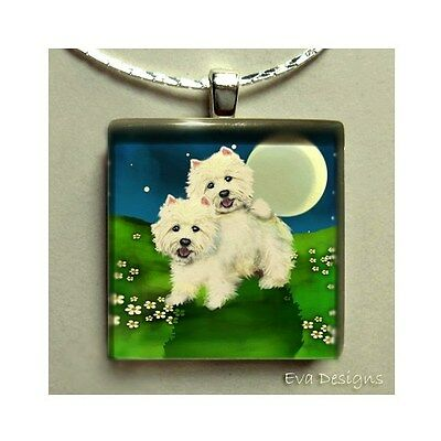 West Highland Terrier Dogs Westie Necklace Jewelry Glass Tile Pendant & Chain