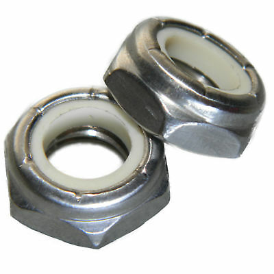 1/2-20 Jam Hex Nuts, Stainless Steel 18-8, Nylon Locking, Qty 10