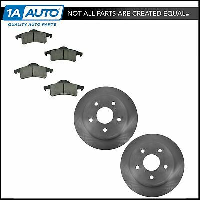 Metallic Pads Fits 99-04 Jeep Grand Cherokee Drilled Slotted Rotors 4 Rear 2