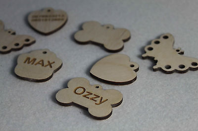 Wooden Personalized Engraved A Lot Shape Pet Dog Cat Tag Id  With Ring  Handmade