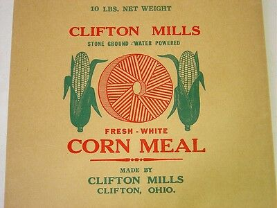 Vintage 10 lb Paper Corn Meal Bag/Sack-Clifton Mills  -White-  Water Powered-OH