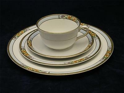 Antique 4 Pc. Place Setting Cup & Plates NEBRASKA Blue by Meakin J & G  1912