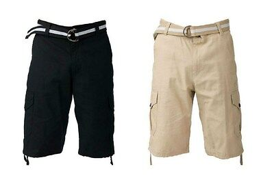 NWT $52.00 Mens SOUTH POLE Black Belted Cargo Shorts BIG /& TALL Black Size 48