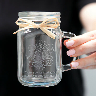 Personalised Engraved 400ml Glass Mason Jar Mugs ideal for Wedding/Bridal Party