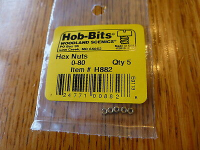 Woodland Scenics Hob-Bits #882 Brass Hex Nuts -- #0-80 (5pcs.)