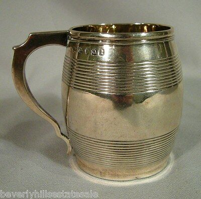 Antique Georgian London 1811 Sterling Silver Barral Shaped  Handled Mug