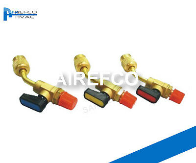 "HVAC-R410a 45° Ball Valve Adaptor 5/16"" male - 1/4 Female-Manifold Refrigeration"