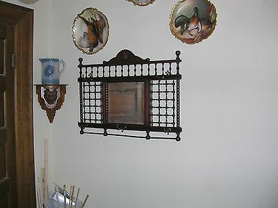 1800's antique cherry stick and ball hall mirror hat and coat rack philadelphia