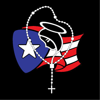 PUERTO RICO CAR DECAL STICKER ROSARY with FLAG #204A