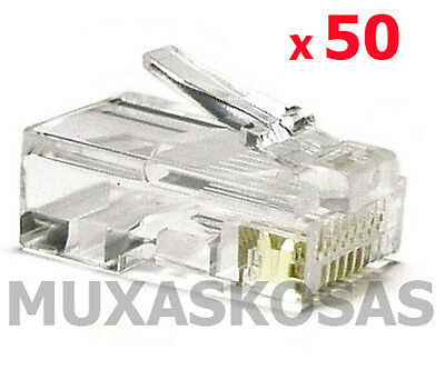 50 X Conector Ethernet Red Rj45 Conectores Para Cable Pc Red Ethernet Rj 45